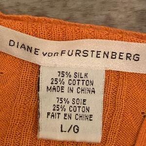 Diane Von Furstenberg Sweaters - Orange Silk Diane Von Furstenberg Cardigan (DVF)